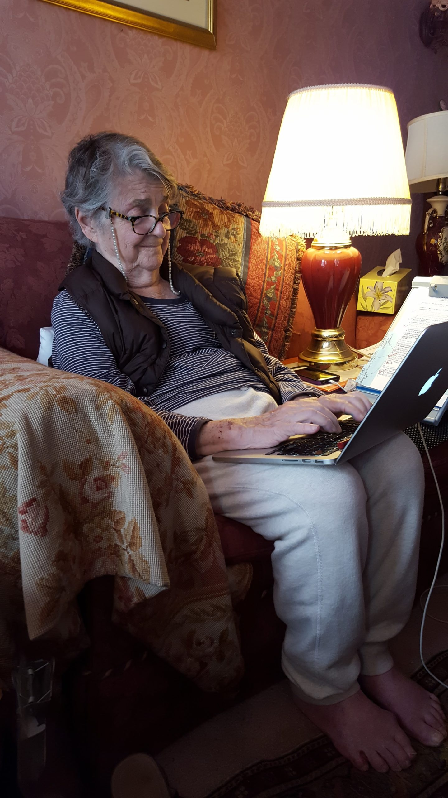 Barbara Sher, editing her Survival Guide for Dreamers in her living room